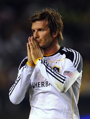 David Beckham from the LA Galaxy reacts