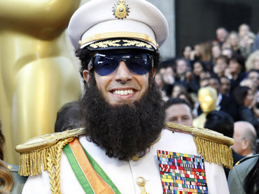 "Cohen arrives in character from his upcoming film ""The Dictator"" at the 84th Academy Awards in Hollywood"