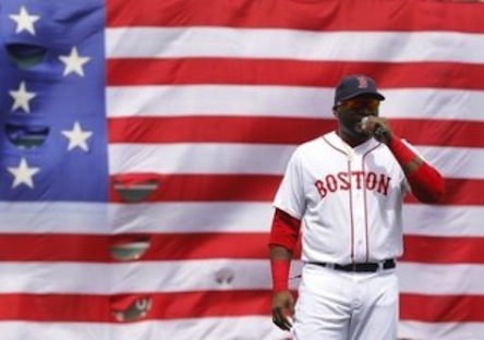 Red Sox's Ortiz addresses fans during a pre-game ceremony honoring the victims of the Boston Marathon bombings, before the team's MLB American League baseball game against the Royals in Boston