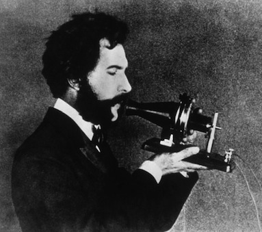 Alexander Graham Bell with Telephone Invention