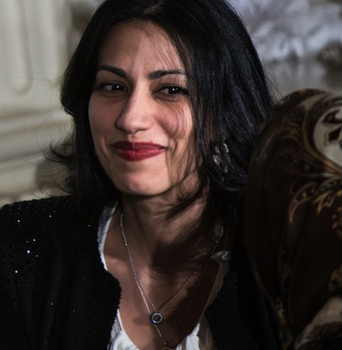 Huma Abedin (R), aide to US Secretary of
