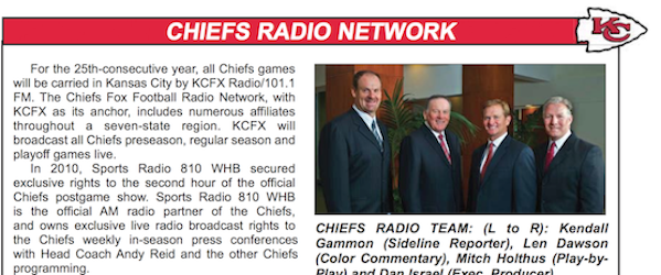 The Chiefs apparently haven't gotten around to revising this for 2014