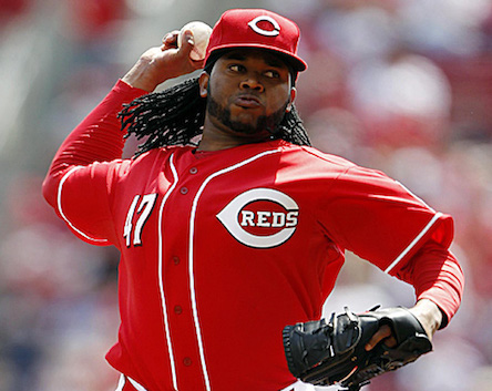 Apr 7, 2013; Cincinnati, OH, USA; Cincinnati Reds starting pitcher Johnny Cueto (47) pitches during the second inning against the Washington Nationals at Great American Ball Park. Mandatory Credit: Frank Victores-USA TODAY Sports