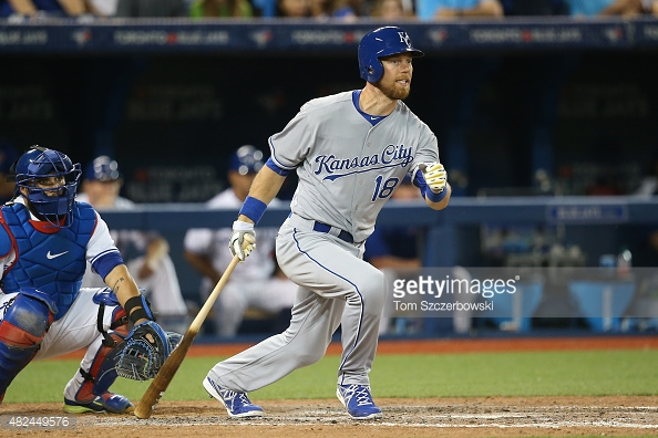TORONTO, CANADA - JULY 30: Newly acquired Ben Zobrist #18 of the Kansas City Royals grounds out in the ninth inning during MLB game action against the Toronto Blue Jays on July 30, 2015 at Rogers Centre in Toronto, Ontario, Canada. (Photo by Tom Szczerbowski/Getty Images) *** Local Caption *** Ben Zobrist